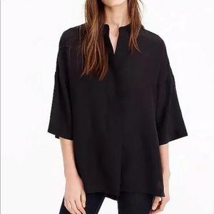 J. Crew black silk tunic top sz L